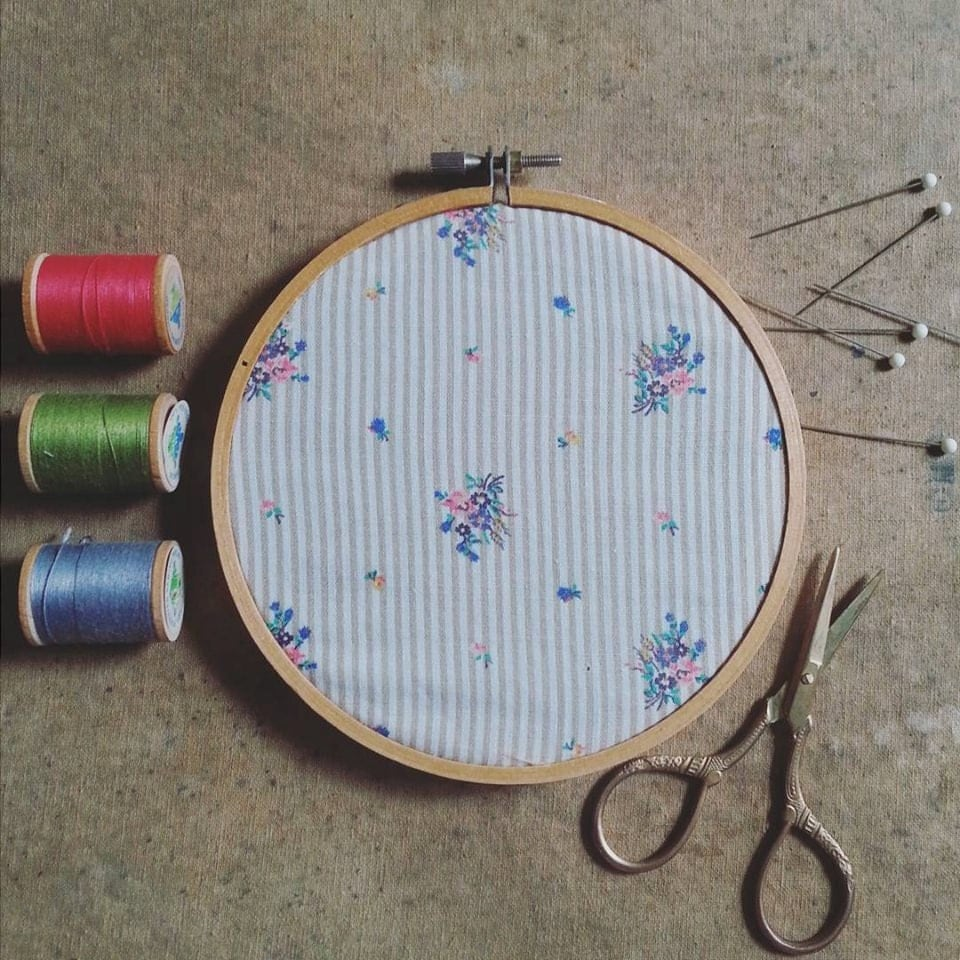 Embroidery hoop wall hanging vintage fabric art cottage