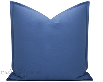 Periwinkle Blue Linen Cotton Cotton Pillow Cover with Flange - 18 inch cover - linen pillow cover - blue linen - decorative pillow cover