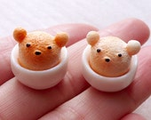 Miniature Coffee Cabochon with 3D Latte Art / Kawaii Bear in a Bowl (2pcs / 16mm x 15mm) Dollhouse Cafe Barbie Doll Food Sweets Deco FCAB443