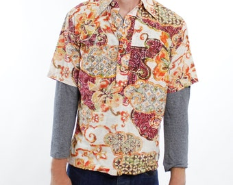 Vintage 70's Hawaiian / Tiki shirt, reverse print material, wooden buttons, pullover with button collar - Medium