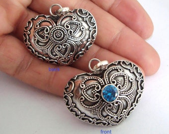 30mm large 925 Sterling Silver handcrafted Bali Harmony Jingle Bell Heart Pendant Charm Mexican Bola hm83