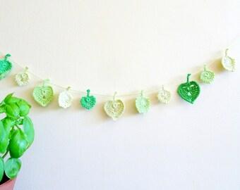 Easter decor - green leaves garland - Spring Wedding decor - crochet leaves garland - leaves decorations - garden wedding decor ~ 30 inches