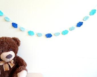 Blue clouds garland - crochet garland - blue boy nursery wall decor - baby shower decor - boys birthday party ideas - blue ~35.5 in