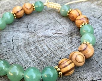 PEACE- New Jade and Olivewood Wrist Mala Bracelet.