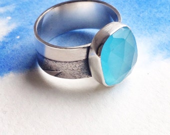 The Shipping Forecast Ring, sterling silver and glass