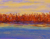 landscape painting, purple and yellow landscape, water reflection painting, river at dawn, original art, FREE shipping in U.S. only