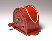Vintage Red Clothesline Retractable Metal Reel - circa 1940's