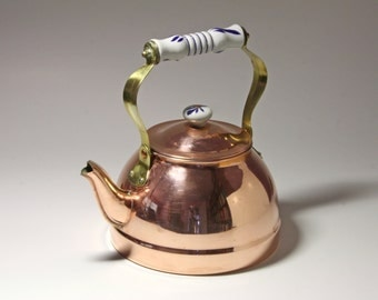 Vintage Copper Tea Kettle with Blue and White Ceramic Handle - circa 1980's