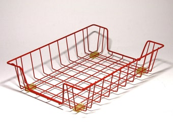 Vintage Red Wire Basket Letter Tray with rubber feet - circa 1960's