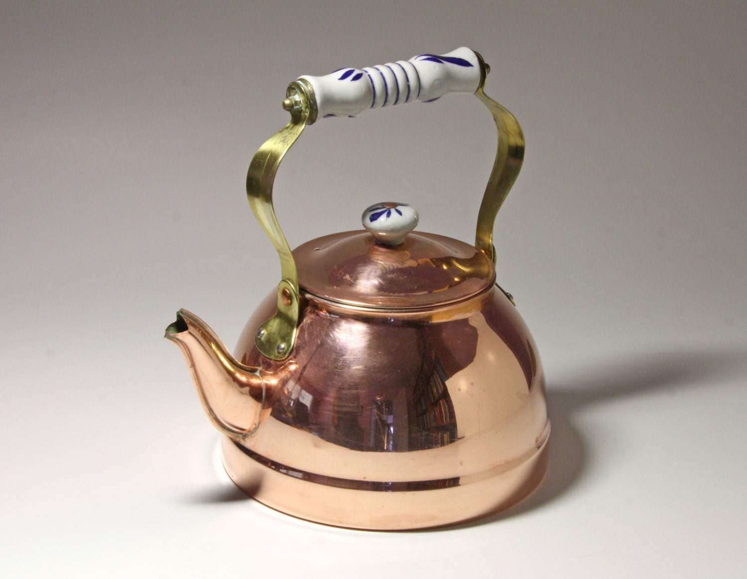 Vintage Copper Tea Kettle With Blue And White Ceramic Handle