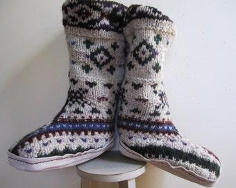 Slipper Boots Felted Sweater Shetland Wool Woodland Folk Repurposed Lined Womens - Size M