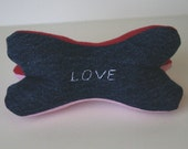 Dog Toy- Reclaimed Limited Edition Valentine's Denim Squeaky Dog Bone toy can be customized