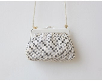 Free Shipping. Vintage White Purse Crossbody Purse Raffia Woven Purse Shoulder Bag