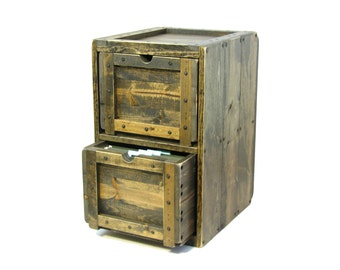 File Cabinet Rustic Solid Wood Office Filing Cabinet 2 Drawer Wooden File Storage & Organization Wood Crate Furniture