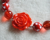 Red Rose Chunky Bubble Gum Bead Valentine's Necklace, Girls Photo Prop