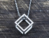 Mens Necklace Cube Box 925 Sterling Silver Oxidized Chain Man Jewelry