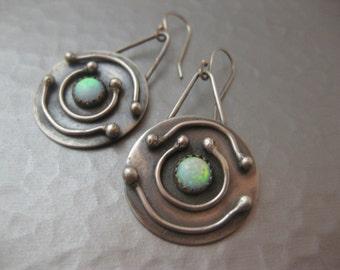 Solar System Earrings Medium Round Disk Sterling Silver Opal Earrings