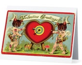 Valentines Day Artist Greeting Card- Tattooed Cupid Cats - Original Art Collage- limited edition