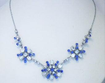 Vintage blue crystal necklace.  Baguette cut crystals. Vintage wedding