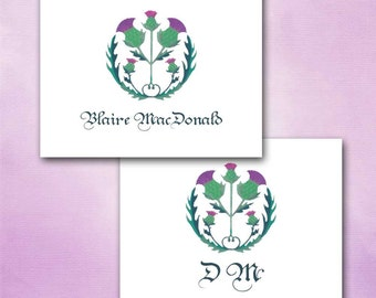 Outlander Inspired Thistle Note Cards Scottish Symbol, Personalized, Purple Green, Pencil Drawing, National Flower, Scotland, Celtic, Scotts