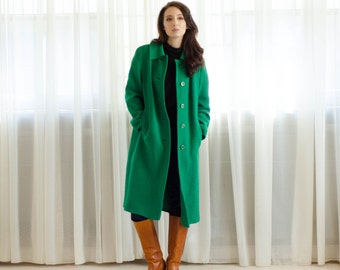 60s Green Coat - Vintage 1960s Wool Coat - All the Luck Coat