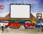 50s Drive-In Movie Theater Personalized Art Print  ( Add your photo onto the movie screen )