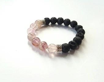 Classic men's beaded bracelet// modern gemstone bracelet//mens stretch bracelet//lava bracelet//chakra bracelet