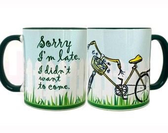 Sorry I'm Late Bicycle Mug by Pithitude