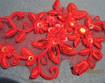 2 Red Flower appliques, beaded and sequined