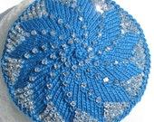 Reserved Blue and Crystal Swirly Beaded Kippah