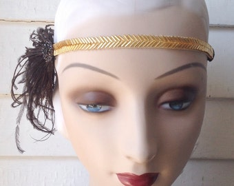 black, silver or gold 1920's beaded flapper headband with elastic back, vintage style rhinestone button and black, white or ivory feathers