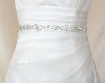 Elegant Big  Eyes Rhinestone Beaded Wedding Dress Sash Belt
