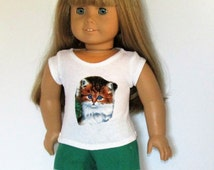 """Blue Eyed Kitten T-Shirt with Green Lace Trimmed Shorts Outfit Made for Dolls like American Girl Clothes 18"""""""