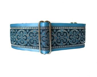 Turquoise Martingale Collar, 2 Inch Martingale Collar, Jacquard Martingale Dog Collar, Turquoise Dog Collar, Greyhound Collar, Azure Blue