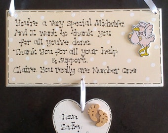 Personalised Midwife Doula Hospital New Baby Birth Thank You Poem Gift Plaque *Exclusive to Kaz Kraft Uk*