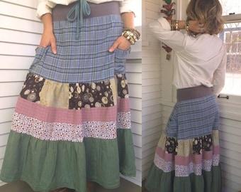 LOVE Sale Eco patchwork SKIRT,size S/M,  eco clothing,long skirt, bohemian skirt, festival skirt, hippy skirt, tiered skirt, long plaid skir