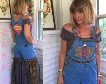 LOVE Sale Bib overalls, denim bib overalls, Size S/M festival bib overalls, eco clothing, eco hippy bibs, patchwork bibs, altered overalls,