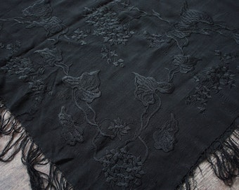 Antique 1900s Shawl // Victorian Edwardian Black Silk Piano Shawl with Fringe // Embroidered Black Leaf Design // Victorian Mourning