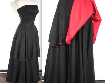 Vintage 1940's Dress // 40s Black Taffeta Strapless Formal Gown with Red Underlay // Peplum Dress // Bombshell // DIVINE