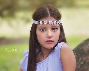 Lavender headband - rhinestone headand - diamond headband - newborn headband - girls headband - luxe couture headband - photo prop