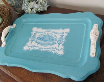 Aqua Wood Tray, French Country Decoupaged Aqua and White Wooden Serving Tray