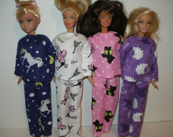 Handmade Barbie clothes - Your choice -- choose 1 - flannel pajamas
