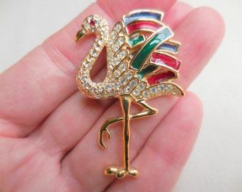VINTAGE RHINESTONE FLAMINGO Bird Brooch Pin Signed