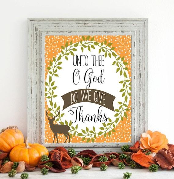 Unto Thee O God Do We Give Thanks Digital Art, Fall Digital Art, Instant Download, Autumn Art, Fall Art, 8 x 10 Digital, Thanksgiving Decor
