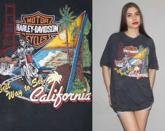 1980s Vintage Harley Davidson Biker The Best Way to See California T Shirt - Vintage 80s Harley Tees  - Vintage Harley T Shirts - Wz0619