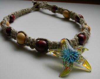 Glass Sea Star Pendant on Hemp