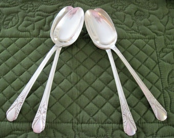 4 Antique Vintage Rogers Silverplate Tablespoons Serving Spoons Avalon-Cabin Pattern Circa 1940's