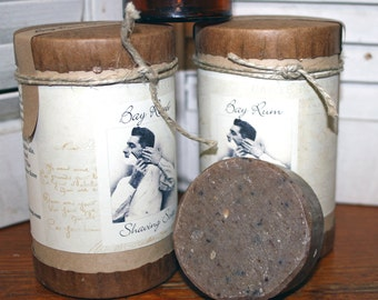 BAY RUM Shaving Soap Three Cakes in Cannister