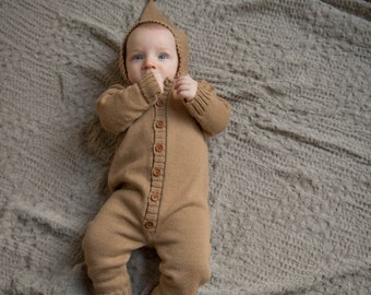 Baby romper Baby overall Baby boy jumpsuit Knit overall with hood Baby clothes Knit baby overalls Camel brown