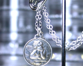 ON SALE The Little Cherub Necklace - Raphael's Angel Pendant - Handmade with All Sterling Silver